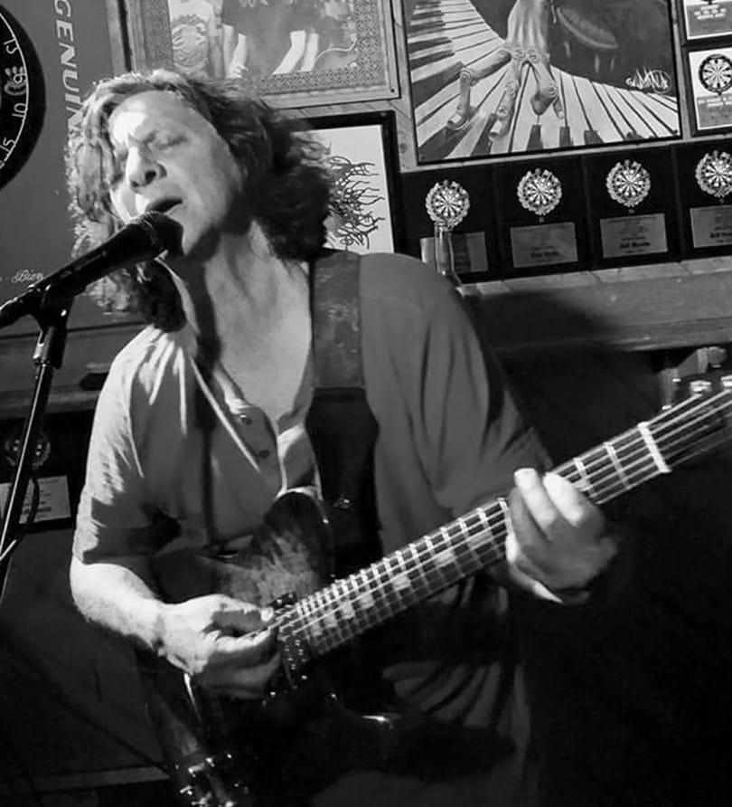 John Mercurio Playing his Mirabella guitar
