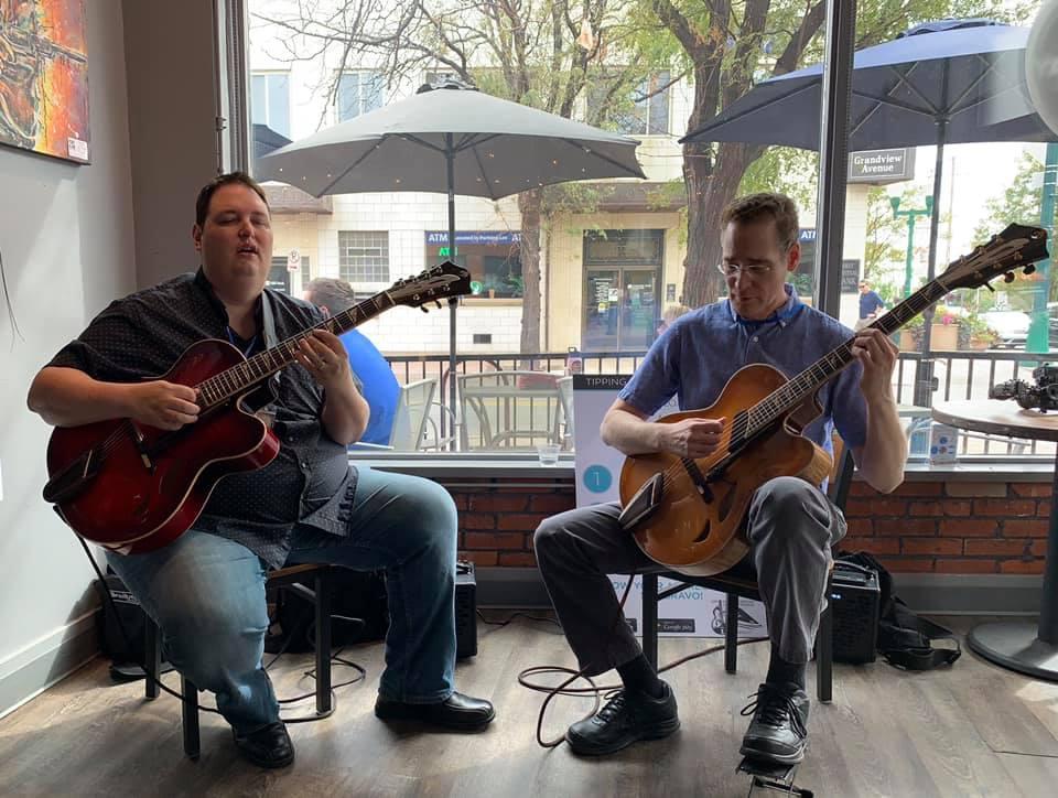 ted ludwig and steve herberman playing mirabella guitars